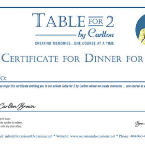 Table for 2 Certificate