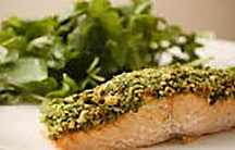 Baked Salmon with Basil Pesto