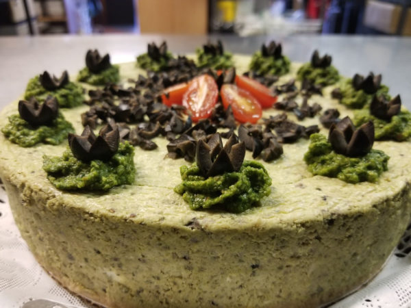 Collard Pesto Olive Cheesecake