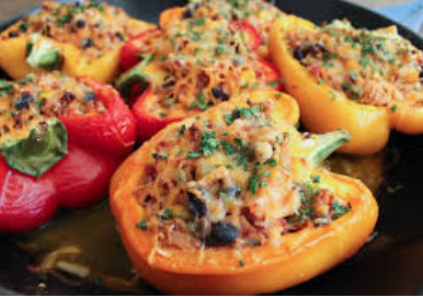 Quinoa Stuffed Peppers over Sauteed Mushrooms & Spinach (GF, Vegetarian)