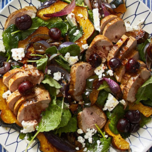 Roasted Squash, Pork, Kale Salad with Cherries (GF, Paleo)