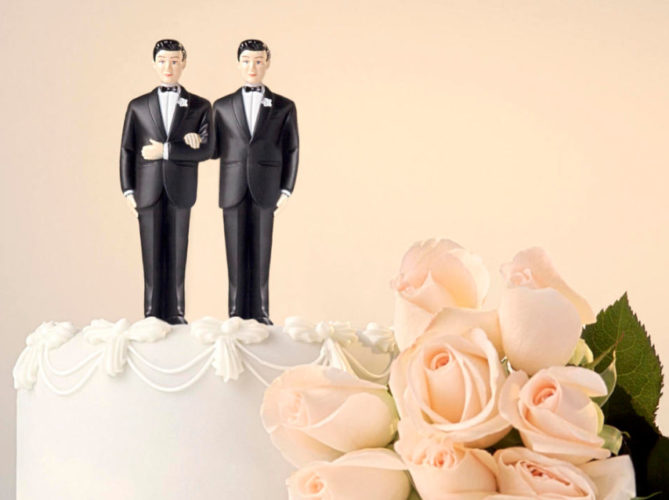 LGBT wedding groom cake