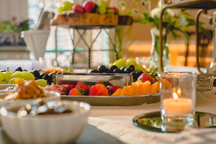 Artisan Cheeses and Fruit Display