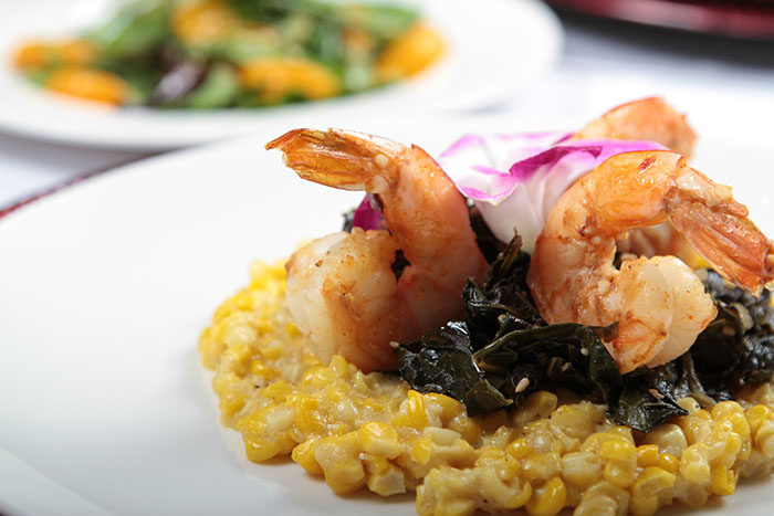 Sauteed Shrimp, Southern Fried Corn with Braised Collards
